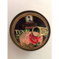 Franz Josef Exclusive TUNA chunks in oil with chilli - Tuniak kousky ve slunečnicovém oleji s chilli, 120 g