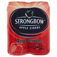 Strongbow Apple ciders red berries sýtený kvasený jablkový alkoholický nápoj 4 x, 400 ml