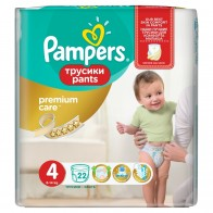 Pampers Premium Care Pants Vel. 4, 22 Plienok, 22 kus